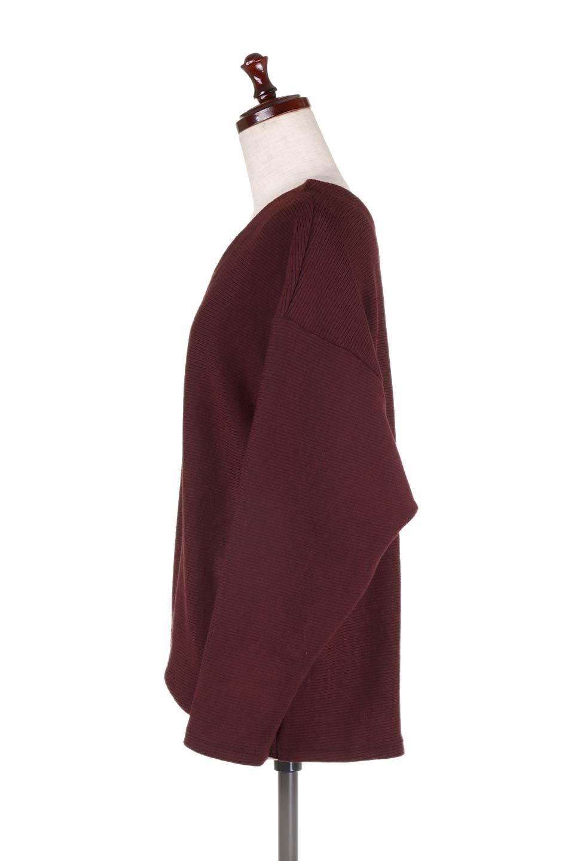 DolmanSleeveCocoonTopドルマンスリーブ・トップス大人カジュアルに最適な海外ファッションのothers(その他インポートアイテム)のトップスやニット・セーター。シンプルデザインのドルマンスリーブトップス。二重織りのリブニット生地が特徴で、細かい縞々が目を引きます。/main-17