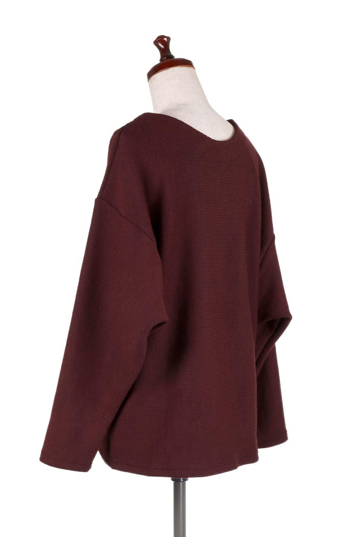 DolmanSleeveCocoonTopドルマンスリーブ・トップス大人カジュアルに最適な海外ファッションのothers(その他インポートアイテム)のトップスやニット・セーター。シンプルデザインのドルマンスリーブトップス。二重織りのリブニット生地が特徴で、細かい縞々が目を引きます。/main-18