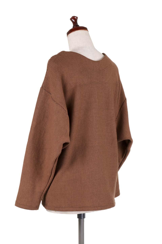 DolmanSleeveCocoonTopドルマンスリーブ・トップス大人カジュアルに最適な海外ファッションのothers(その他インポートアイテム)のトップスやニット・セーター。シンプルデザインのドルマンスリーブトップス。二重織りのリブニット生地が特徴で、細かい縞々が目を引きます。/main-23