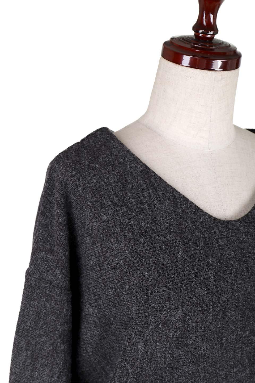DolmanSleeveCocoonTopドルマンスリーブ・トップス大人カジュアルに最適な海外ファッションのothers(その他インポートアイテム)のトップスやニット・セーター。シンプルデザインのドルマンスリーブトップス。二重織りのリブニット生地が特徴で、細かい縞々が目を引きます。/main-5