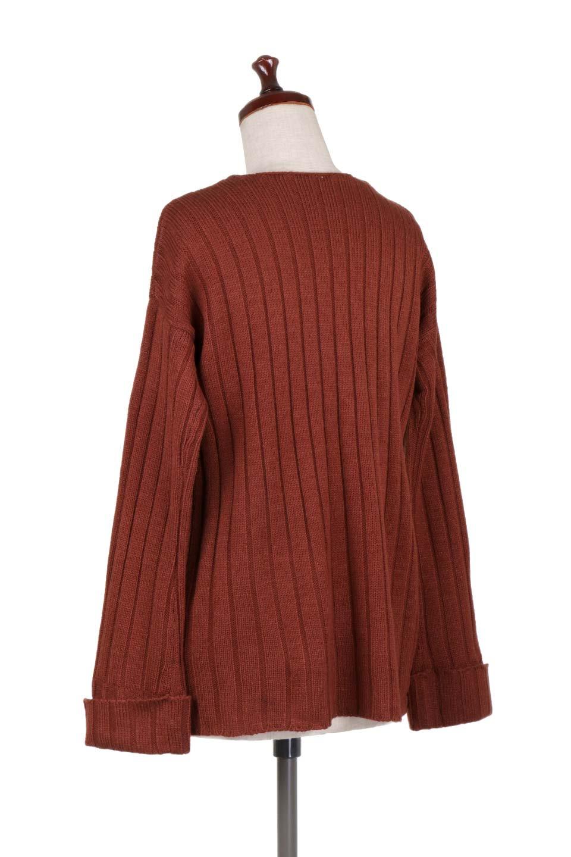 WideRibV-KneckTopワイドリブ・ニットトップス大人カジュアルに最適な海外ファッションのothers(その他インポートアイテム)のトップスやニット・セーター。ワイドリブのVネックセーター。幅広いコーデに使える万能トップスです。/main-13
