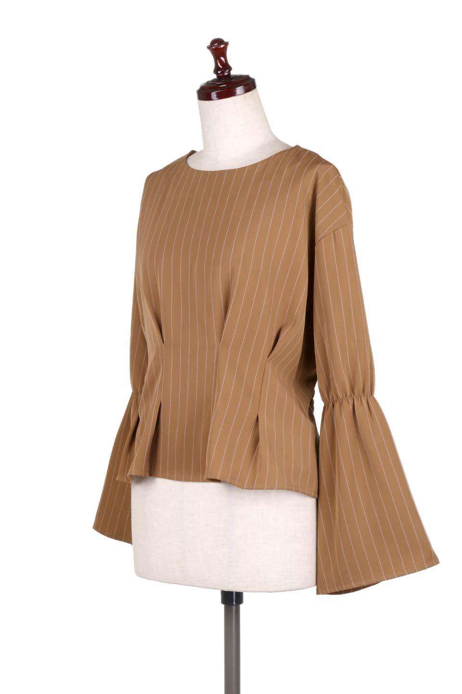 FlaredSleeveTackBlouseフレアスリーブブラウス大人カジュアルに最適な海外ファッションのothers(その他インポートアイテム)のトップスやシャツ・ブラウス。キレイなシルエットのフレアスリーブブラウス。フロンとのタックとバックのギャザーで可愛らしいシルエットになります。/main-6