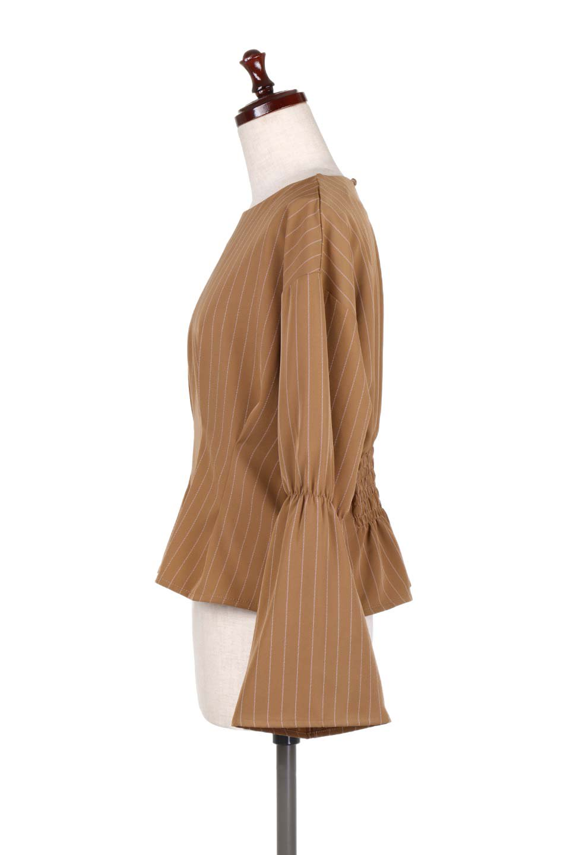 FlaredSleeveTackBlouseフレアスリーブブラウス大人カジュアルに最適な海外ファッションのothers(その他インポートアイテム)のトップスやシャツ・ブラウス。キレイなシルエットのフレアスリーブブラウス。フロンとのタックとバックのギャザーで可愛らしいシルエットになります。/main-7