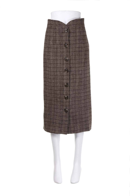 GlenCheckHighWaistSkirtグレンチェック起毛スカート大人カジュアルに最適な海外ファッションのothers(その他インポートアイテム)のボトムやスカート。人気のグレンチェックが目を引くハイウエストスカート。しっとりソフトな起毛ツイードでグレンチェック。/main-5