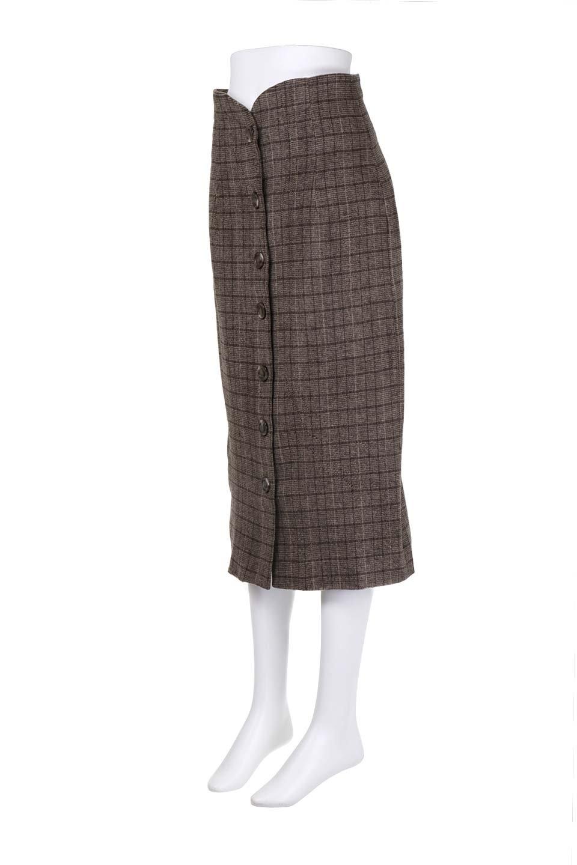 GlenCheckHighWaistSkirtグレンチェック起毛スカート大人カジュアルに最適な海外ファッションのothers(その他インポートアイテム)のボトムやスカート。人気のグレンチェックが目を引くハイウエストスカート。しっとりソフトな起毛ツイードでグレンチェック。/main-6