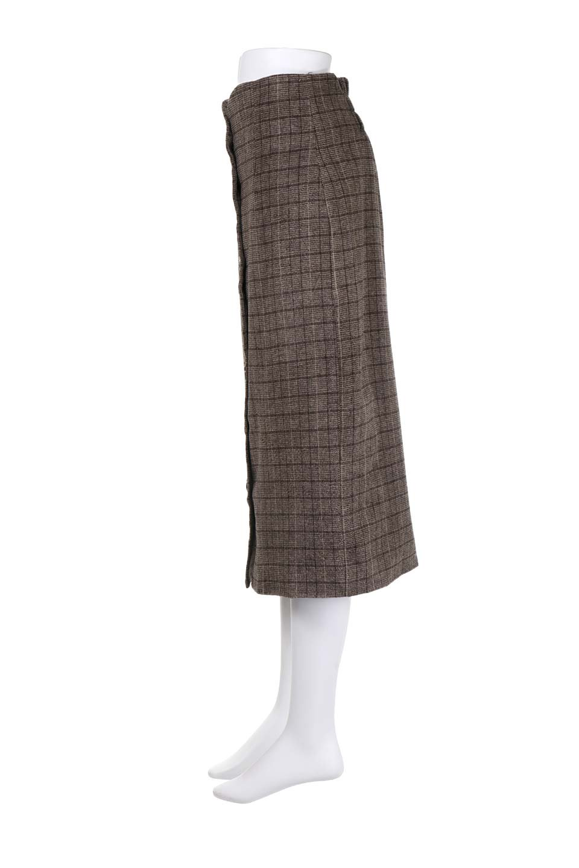 GlenCheckHighWaistSkirtグレンチェック起毛スカート大人カジュアルに最適な海外ファッションのothers(その他インポートアイテム)のボトムやスカート。人気のグレンチェックが目を引くハイウエストスカート。しっとりソフトな起毛ツイードでグレンチェック。/main-7