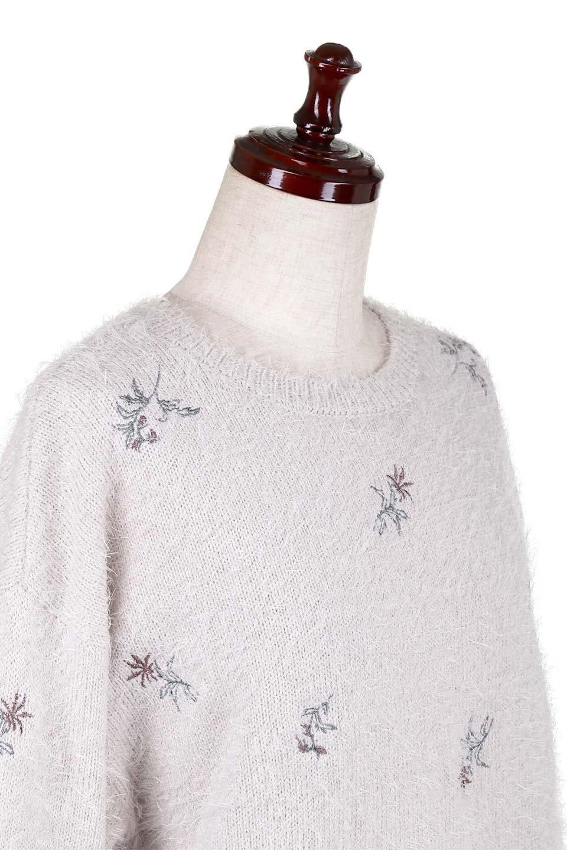 FloralEmbroideredShaggyTops花柄シャギーニット大人カジュアルに最適な海外ファッションのothers(その他インポートアイテム)のトップスやニット・セーター。しっとりソフトなシャギーニットのプルオーバートップス。なめらかな肌触りのニットに可愛らしい花の刺繍入り。/main-16