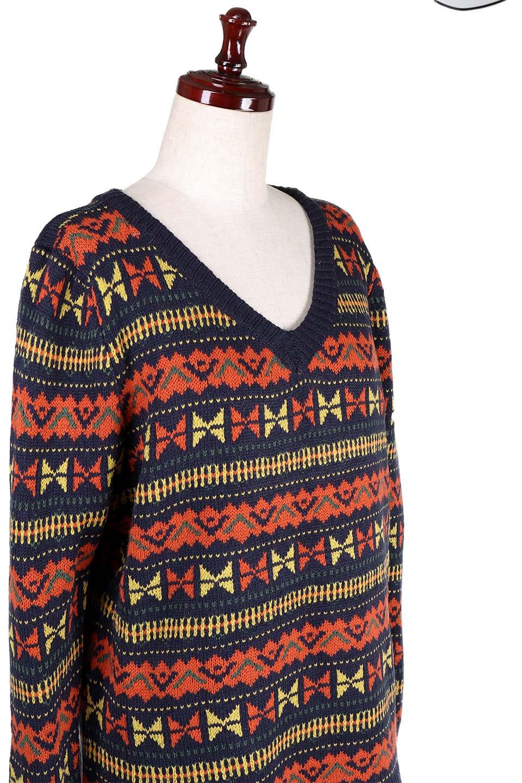 L.A.直輸入のGeometryV-kneckSweaterジオメトリーVネックセーター大人カジュアルに最適な海外ファッションのothers(その他インポートアイテム)のトップスやニット・セーター。ネイティブ調の幾何学模様のジャカードセーター。ユッタリ目の大きさなのでインナーを着ても余裕があるサイズ感です。/main-9