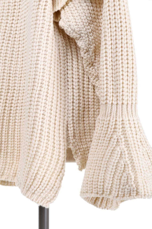 L.A.直輸入のChunkyRibKnittedSweaterデザインスリーブニット大人カジュアルに最適な海外ファッションのothers(その他インポートアイテム)のトップスやニット・セーター。1枚でサマになるチャンキーニットのセーター。フリルが付いたキャンディースリーブチックな袖がとても可愛いざっくりニット。/main-10