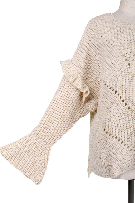L.A.直輸入のChunkyRibKnittedSweaterデザインスリーブニット大人カジュアルに最適な海外ファッションのothers(その他インポートアイテム)のトップスやニット・セーター。1枚でサマになるチャンキーニットのセーター。フリルが付いたキャンディースリーブチックな袖がとても可愛いざっくりニット。/main-13