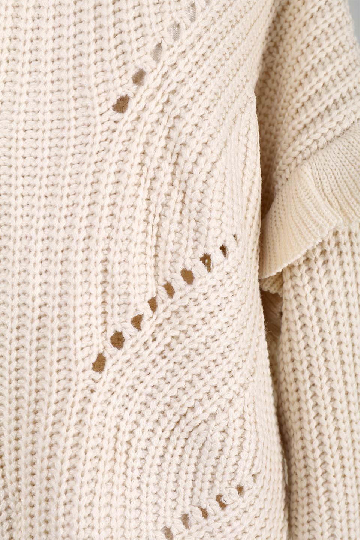 L.A.直輸入のChunkyRibKnittedSweaterデザインスリーブニット大人カジュアルに最適な海外ファッションのothers(その他インポートアイテム)のトップスやニット・セーター。1枚でサマになるチャンキーニットのセーター。フリルが付いたキャンディースリーブチックな袖がとても可愛いざっくりニット。/main-9