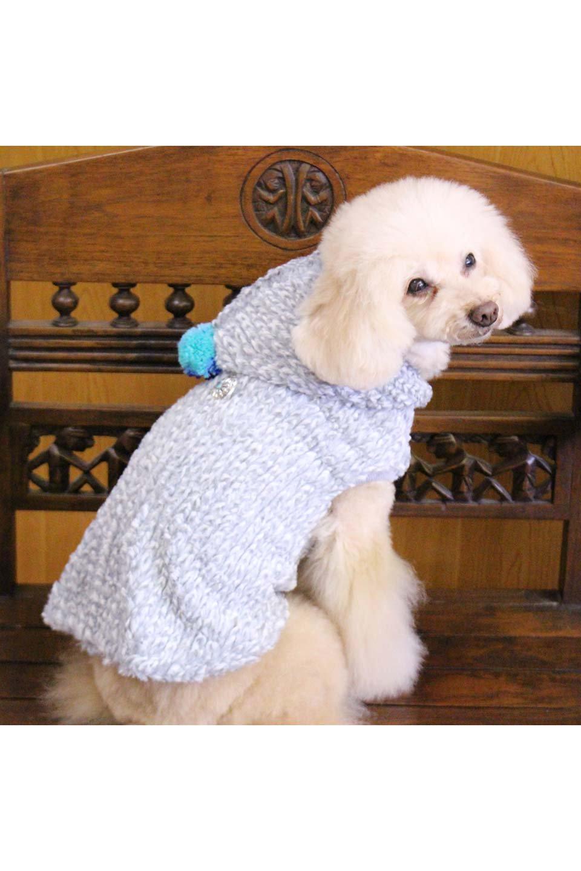 ChenilleKnitDogHoodieモコモコ・ドッグパーカ大人カジュアルに最適な海外ファッションのothers(その他インポートアイテム)のドッググッズや。肌触りの良いモールニットのフワフワモコモコのニットパーカ。胸のベルクロで全開になり着用が楽になります。/main-26