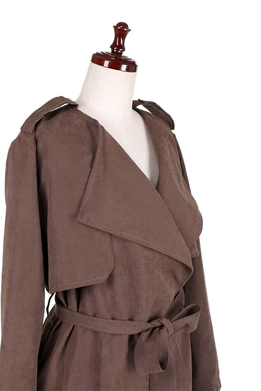 BrownSuedeTrenchCoatスエード調トレンチコート大人カジュアルに最適な海外ファッションのothers(その他インポートアイテム)のアウターやコート。美シルエットの裏地付きトレンチコート。デニムと合わせるカジュアルコーデから、かっちり目のシックなコーデまで、その日の気分で楽しめるオールマイティーなコート。/main-5