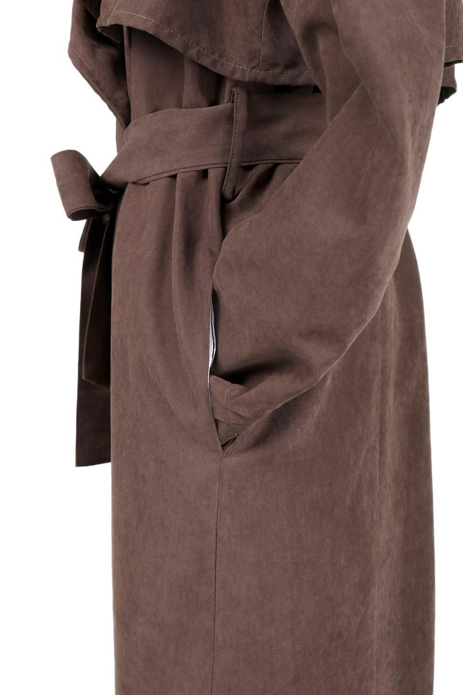 BrownSuedeTrenchCoatスエード調トレンチコート大人カジュアルに最適な海外ファッションのothers(その他インポートアイテム)のアウターやコート。美シルエットの裏地付きトレンチコート。デニムと合わせるカジュアルコーデから、かっちり目のシックなコーデまで、その日の気分で楽しめるオールマイティーなコート。/main-9