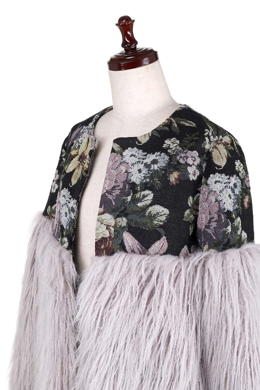 FloralJacquardAndFauxFurJacketジャカード&ファーコート大人カジュアルに最適な海外ファッションのothers(その他インポートアイテム)のアウターやコート。花柄ジャカード織とファーのコンビネーションがとても可愛いショートコート。今年は普通のファーではなく変わり種のアイテムに注目。/main-6