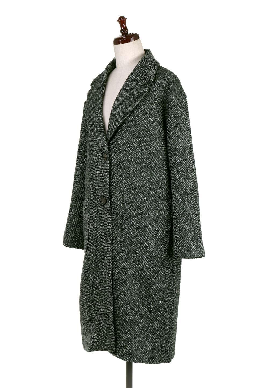 TweedHerringboneChesterCoatツイードヘリンボーン・チェスターコート大人カジュアルに最適な海外ファッションのothers(その他インポートアイテム)のアウターやコート。定番シルエットで大人気のチェスターコート。ミックス色のツイードコートは冬コーデのお役立ちアイテム。/main-6