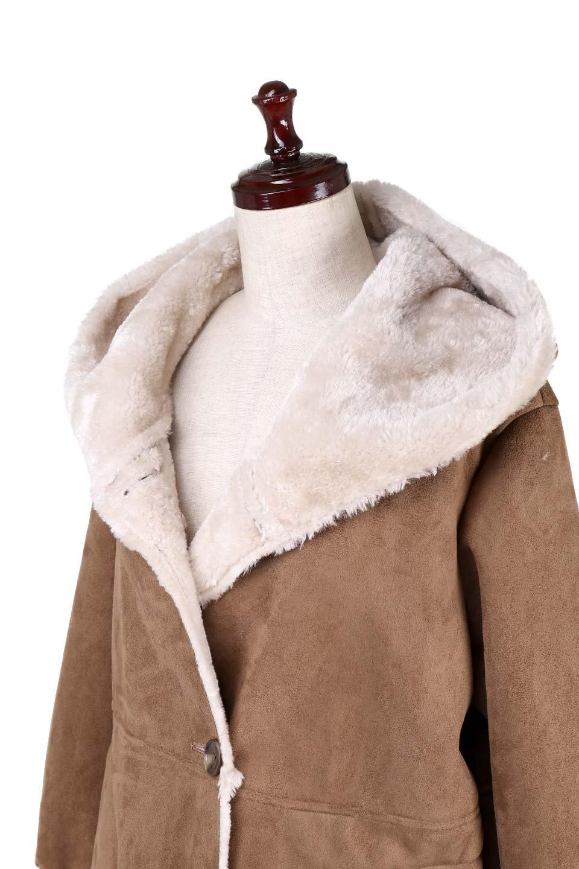 FauxShearlingHoodedCoatフード付きムートンコート大人カジュアルに最適な海外ファッションのothers(その他インポートアイテム)のアウターやコート。ふわふわ裏地が気持ち良いフェイクムートンのフード付きコート。表地は風を通しにくく、裏地は空気を包むファーでぬくぬくのコートです。/main-10