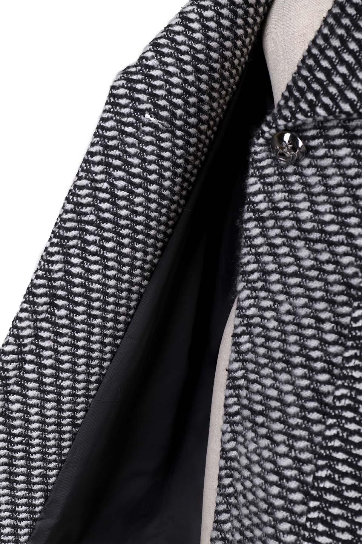 Turn-DownWideLapelTexturedCoatワイドラペルコート大人カジュアルに最適な海外ファッションのothers(その他インポートアイテム)のアウターやコート。大きな襟が特徴のツイード風コート。白と黒のミックス柄で凹凸感のある生地を使用。/main-10