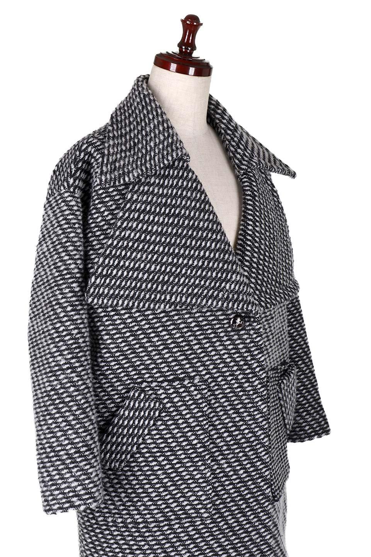 Turn-DownWideLapelTexturedCoatワイドラペルコート大人カジュアルに最適な海外ファッションのothers(その他インポートアイテム)のアウターやコート。大きな襟が特徴のツイード風コート。白と黒のミックス柄で凹凸感のある生地を使用。/main-5