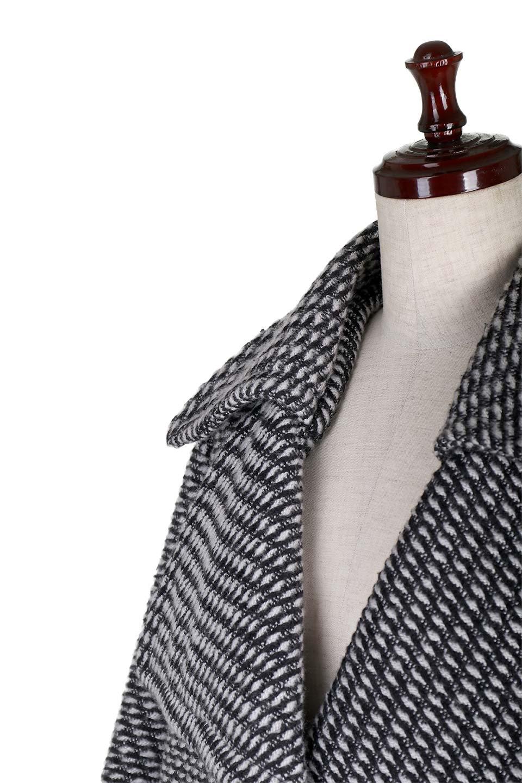 Turn-DownWideLapelTexturedCoatワイドラペルコート大人カジュアルに最適な海外ファッションのothers(その他インポートアイテム)のアウターやコート。大きな襟が特徴のツイード風コート。白と黒のミックス柄で凹凸感のある生地を使用。/main-6