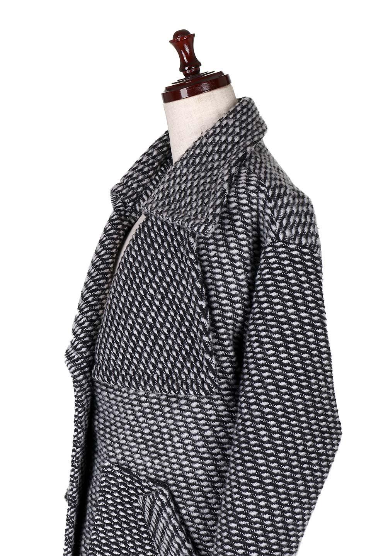 Turn-DownWideLapelTexturedCoatワイドラペルコート大人カジュアルに最適な海外ファッションのothers(その他インポートアイテム)のアウターやコート。大きな襟が特徴のツイード風コート。白と黒のミックス柄で凹凸感のある生地を使用。/main-7