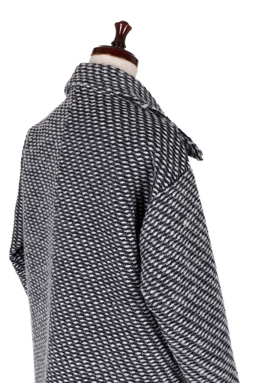 Turn-DownWideLapelTexturedCoatワイドラペルコート大人カジュアルに最適な海外ファッションのothers(その他インポートアイテム)のアウターやコート。大きな襟が特徴のツイード風コート。白と黒のミックス柄で凹凸感のある生地を使用。/main-8