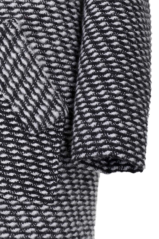 Turn-DownWideLapelTexturedCoatワイドラペルコート大人カジュアルに最適な海外ファッションのothers(その他インポートアイテム)のアウターやコート。大きな襟が特徴のツイード風コート。白と黒のミックス柄で凹凸感のある生地を使用。/main-9