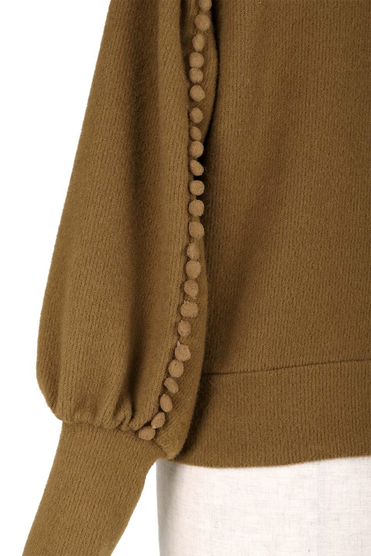 MiniPomPomBishopSleeveTopポンポン付きビショップスリーブトップス大人カジュアルに最適な海外ファッションのothers(その他インポートアイテム)のトップスやカットソー。袖のポンポンのラインが可愛いふんわり軽いトップス。ニットの様なフリースの様なソフトな肌触りの素材を使用しています。/main-19