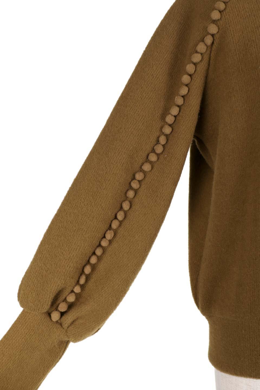 MiniPomPomBishopSleeveTopポンポン付きビショップスリーブトップス大人カジュアルに最適な海外ファッションのothers(その他インポートアイテム)のトップスやカットソー。袖のポンポンのラインが可愛いふんわり軽いトップス。ニットの様なフリースの様なソフトな肌触りの素材を使用しています。/main-21