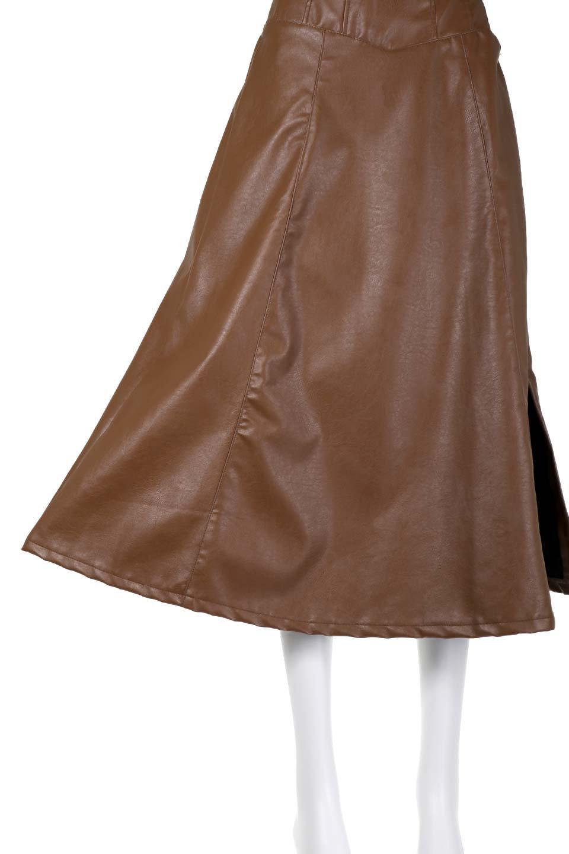 EcoLeatherSideSlitFlaredSkirtサイドスリット入り・レザーフレアスカート大人カジュアルに最適な海外ファッションのothers(その他インポートアイテム)のボトムやスカート。注目のレーザースカート。ジワジワと人気が出てきているアイテムです。/main-12