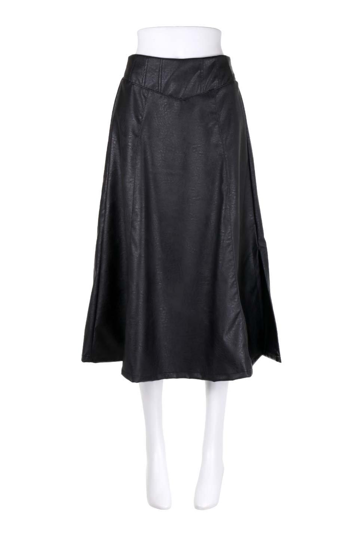 EcoLeatherSideSlitFlaredSkirtサイドスリット入り・レザーフレアスカート大人カジュアルに最適な海外ファッションのothers(その他インポートアイテム)のボトムやスカート。注目のレーザースカート。。ジワジワと人気が出てきているアイテムです。/main-5