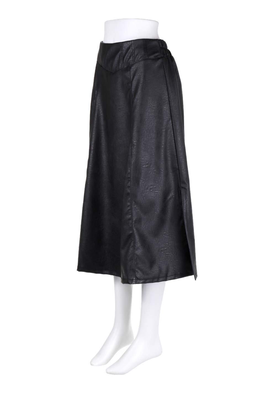 EcoLeatherSideSlitFlaredSkirtサイドスリット入り・レザーフレアスカート大人カジュアルに最適な海外ファッションのothers(その他インポートアイテム)のボトムやスカート。注目のレーザースカート。ジワジワと人気が出てきているアイテムです。/main-6