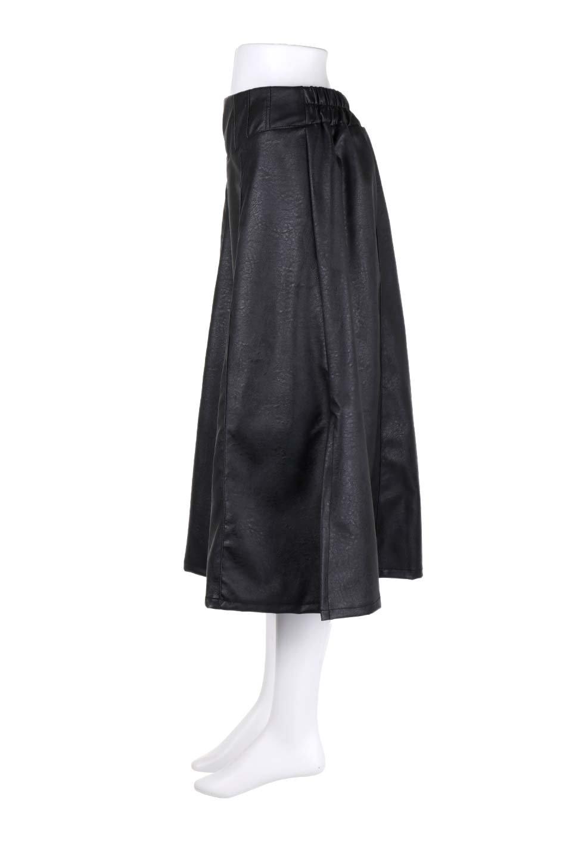 EcoLeatherSideSlitFlaredSkirtサイドスリット入り・レザーフレアスカート大人カジュアルに最適な海外ファッションのothers(その他インポートアイテム)のボトムやスカート。注目のレーザースカート。ジワジワと人気が出てきているアイテムです。/main-7