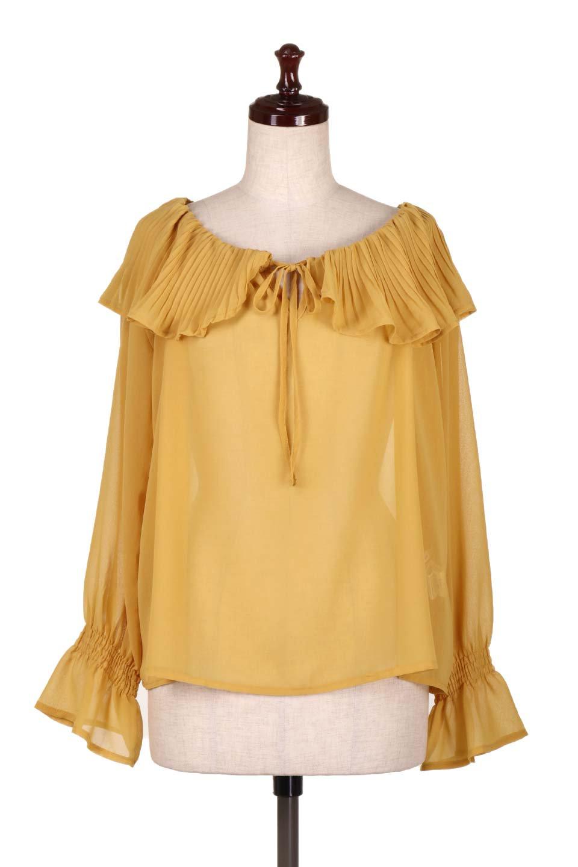 PleatedFrillCollarBlouseプリーツフリル・シフォンブラウス大人カジュアルに最適な海外ファッションのothers(その他インポートアイテム)のトップスやシャツ・ブラウス。プリーツ入りのフリルの襟がガーリーなシフォンブラウス。合わせやすい着丈の長さ可愛らしいキャンディースリーブもオススメポイント。/main-10
