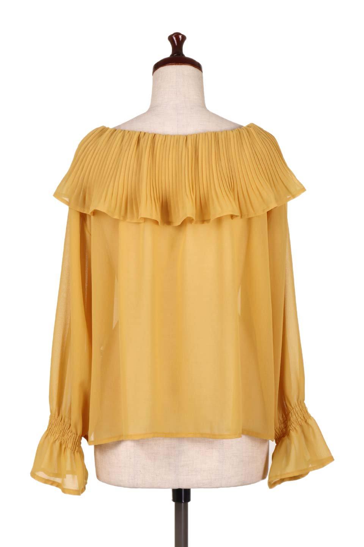PleatedFrillCollarBlouseプリーツフリル・シフォンブラウス大人カジュアルに最適な海外ファッションのothers(その他インポートアイテム)のトップスやシャツ・ブラウス。プリーツ入りのフリルの襟がガーリーなシフォンブラウス。合わせやすい着丈の長さ可愛らしいキャンディースリーブもオススメポイント。/main-14