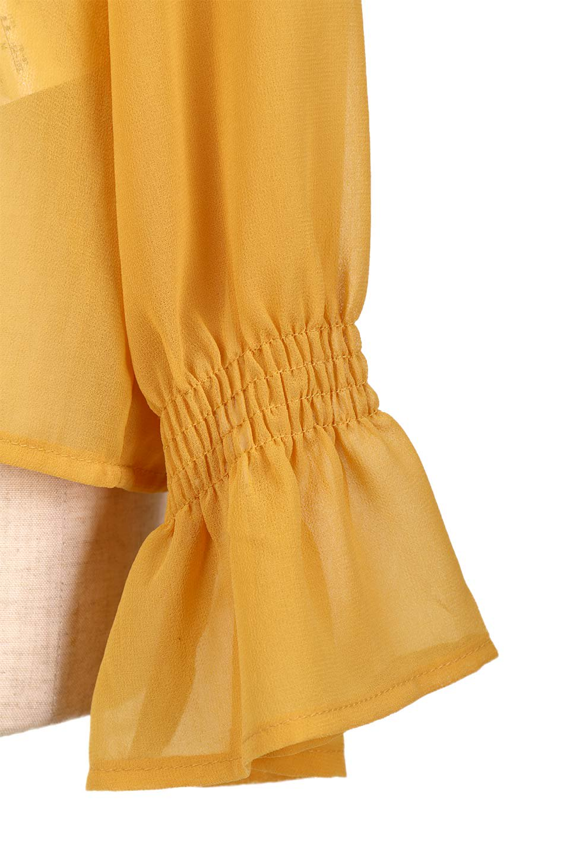 PleatedFrillCollarBlouseプリーツフリル・シフォンブラウス大人カジュアルに最適な海外ファッションのothers(その他インポートアイテム)のトップスやシャツ・ブラウス。プリーツ入りのフリルの襟がガーリーなシフォンブラウス。合わせやすい着丈の長さ可愛らしいキャンディースリーブもオススメポイント。/main-19