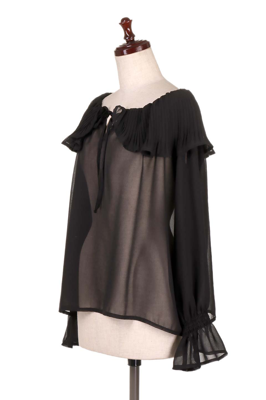 PleatedFrillCollarBlouseプリーツフリル・シフォンブラウス大人カジュアルに最適な海外ファッションのothers(その他インポートアイテム)のトップスやシャツ・ブラウス。プリーツ入りのフリルの襟がガーリーなシフォンブラウス。合わせやすい着丈の長さ可愛らしいキャンディースリーブもオススメポイント。/main-6