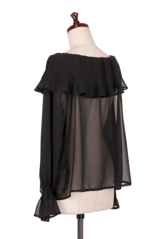 PleatedFrillCollarBlouseプリーツフリル・シフォンブラウス大人カジュアルに最適な海外ファッションのothers(その他インポートアイテム)のトップスやシャツ・ブラウス。プリーツ入りのフリルの襟がガーリーなシフォンブラウス。合わせやすい着丈の長さ可愛らしいキャンディースリーブもオススメポイント。/main-8
