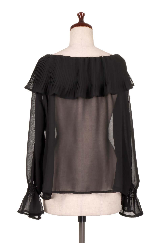 PleatedFrillCollarBlouseプリーツフリル・シフォンブラウス大人カジュアルに最適な海外ファッションのothers(その他インポートアイテム)のトップスやシャツ・ブラウス。プリーツ入りのフリルの襟がガーリーなシフォンブラウス。合わせやすい着丈の長さ可愛らしいキャンディースリーブもオススメポイント。/main-9