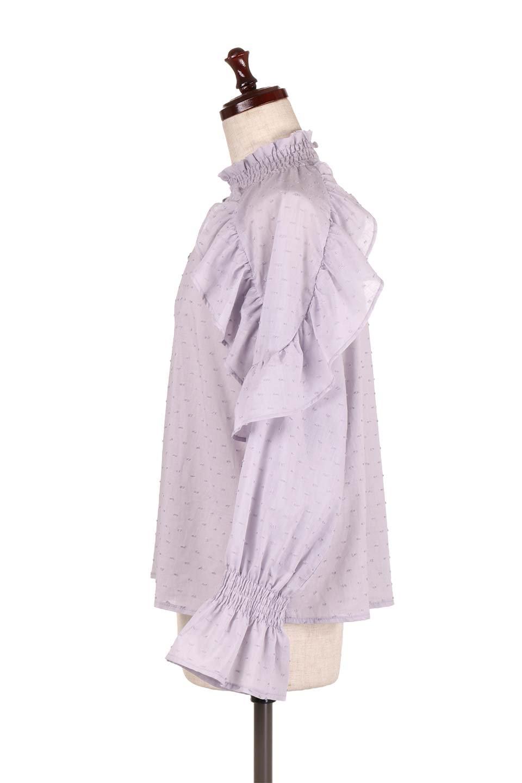 ShirringKneckFrillBlouseシャーリングネック・フリルブラウス大人カジュアルに最適な海外ファッションのothers(その他インポートアイテム)のトップスやシャツ・ブラウス。シャーリングの首もとが可愛いキャンディースリーブのブラウス。ネップが入った生地やシャーリングの首元、フリルが飾られたキャンディースリーブ・・・可愛いパーツが散りばめられたブラウスです。/main-12