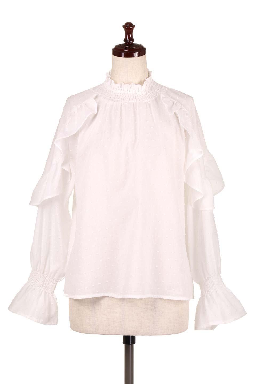 ShirringKneckFrillBlouseシャーリングネック・フリルブラウス大人カジュアルに最適な海外ファッションのothers(その他インポートアイテム)のトップスやシャツ・ブラウス。シャーリングの首もとが可愛いキャンディースリーブのブラウス。ネップが入った生地やシャーリングの首元、フリルが飾られたキャンディースリーブ・・・可愛いパーツが散りばめられたブラウスです。/main-5