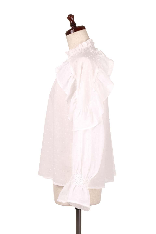 ShirringKneckFrillBlouseシャーリングネック・フリルブラウス大人カジュアルに最適な海外ファッションのothers(その他インポートアイテム)のトップスやシャツ・ブラウス。シャーリングの首もとが可愛いキャンディースリーブのブラウス。ネップが入った生地やシャーリングの首元、フリルが飾られたキャンディースリーブ・・・可愛いパーツが散りばめられたブラウスです。/main-7