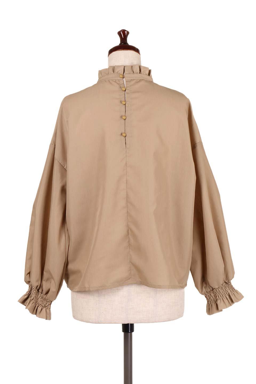 ShirringStandCollarBlouseシャーリングスタンドカラーブラウス大人カジュアルに最適な海外ファッションのothers(その他インポートアイテム)のトップスやシャツ・ブラウス。シャーリングのスタンドカラーが可愛いポイントのブラウス。胸元のVから広がるドレープでゆったりシルエットをデザインした春ブラウスです。/main-14