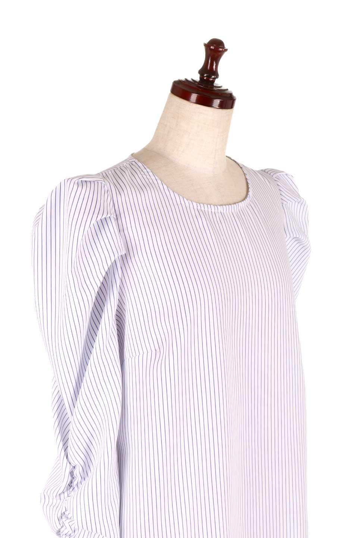 FlyingTomatoのRuchedSleevePin-StripedBlouseパフショルダー・ピンストライプブラウス/海外ファッション好きにオススメなFlyingTomato(フライングトマト)のトップスやシャツ・ブラウス。爽やかなピンストライプのブラウス。肩から袖口にかけてのディテールがとても可愛いブラウスです。/main-10
