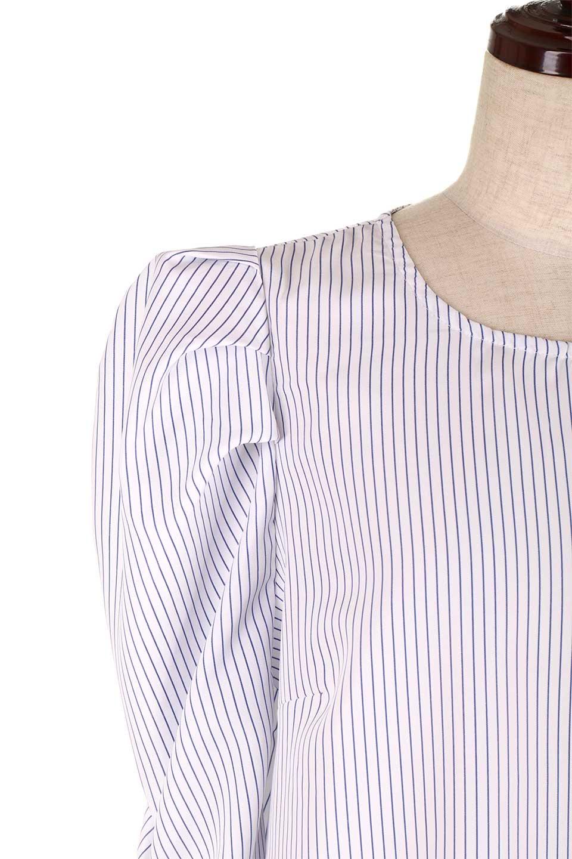 FlyingTomatoのRuchedSleevePin-StripedBlouseパフショルダー・ピンストライプブラウス/海外ファッション好きにオススメなFlyingTomato(フライングトマト)のトップスやシャツ・ブラウス。爽やかなピンストライプのブラウス。肩から袖口にかけてのディテールがとても可愛いブラウスです。/main-12