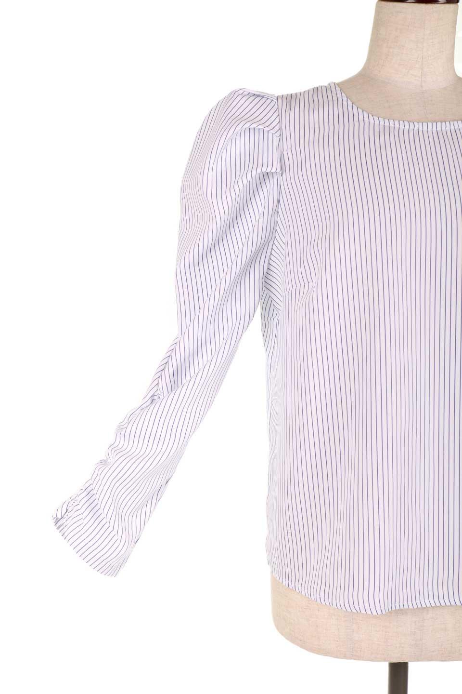 FlyingTomatoのRuchedSleevePin-StripedBlouseパフショルダー・ピンストライプブラウス/海外ファッション好きにオススメなFlyingTomato(フライングトマト)のトップスやシャツ・ブラウス。爽やかなピンストライプのブラウス。肩から袖口にかけてのディテールがとても可愛いブラウスです。/main-14