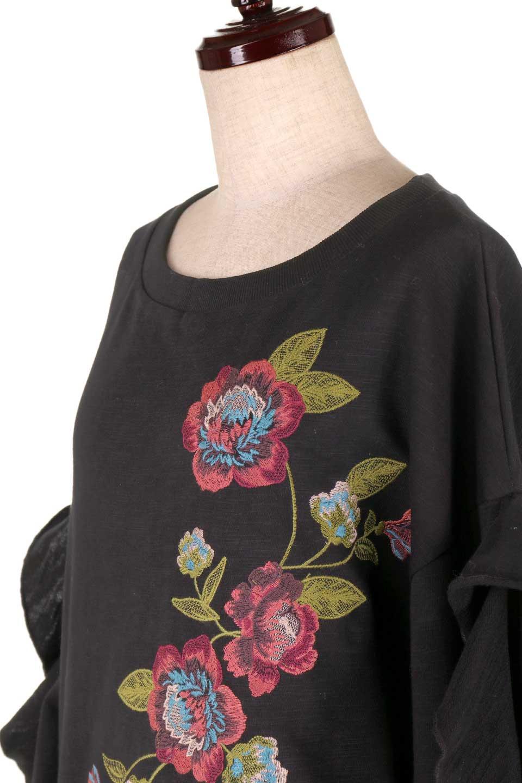 FlyingTomatoのFlowerEmbroideredOpenRuffleSleeveTopオープンショルダー・刺繍スウェット/海外ファッション好きにオススメなFlyingTomato(フライングトマト)のトップスやカットソー。大胆な花の刺繍が目を引くスウェットのトップス。前面の花柄ではないところがちょっと大人っぽい雰囲気です。/main-11