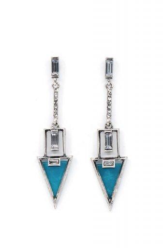 海外ファッションや大人カジュアルにオススメなインポートセレクトアイテムL.A.直輸入のRhinestone Triangle Drop Earring (BLU) ラインストーン・トライアングルピアス