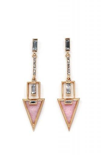 海外ファッションや大人カジュアルにオススメなインポートセレクトアイテムL.A.直輸入のRhinestone Triangle Drop Earring (PNK) ラインストーン・トライアングルピアス