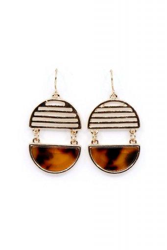 海外ファッションや大人カジュアルにオススメなインポートセレクトアイテムL.A.直輸入のGeometric Oval Shaped Earrings (BRN) ジオメトリック・オーバルピアス